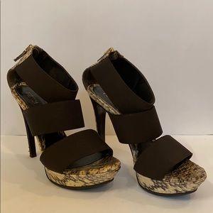 Fendi | Snakeskin Vernice Elastic Platform Sandals